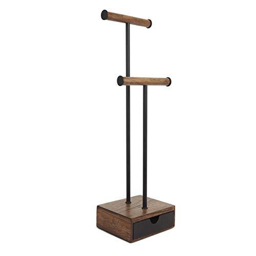 Umbra 299269-048 Pillar moderner Schmuckbaum mit Schiebefach, Schmuckaufbewahrung, Ketten-/Uhrenständer, walnuß/schwarz
