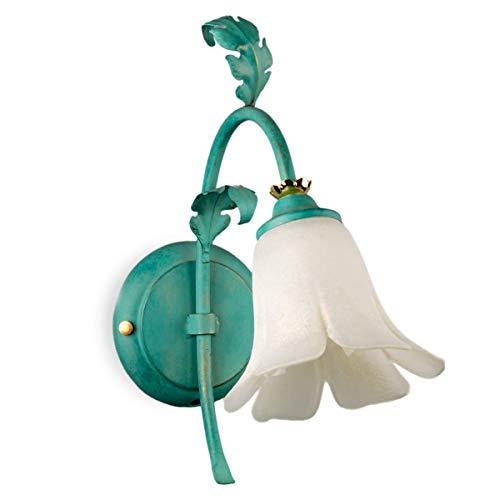 Jugendstil Eisen Floral (Helios Leuchten 354036 große Florentiner Wandleuchte grün | florale Lampe Leuchte Wandlampe Landhausstil | 1 x E14)