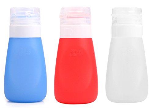RoseFlower® Pack de 3 Bouteille de Voyage en Silicone - Set de 3 (85ml) - Squeezable & Contenants Réutilisables pour le Shampooing, Revitalisant, Lotion, Toilette - Approuvé par la ligne aérienne TSA
