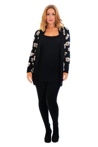 Nouvelle plus totenkopfdruck femme en maille taille unique Noir - Noir