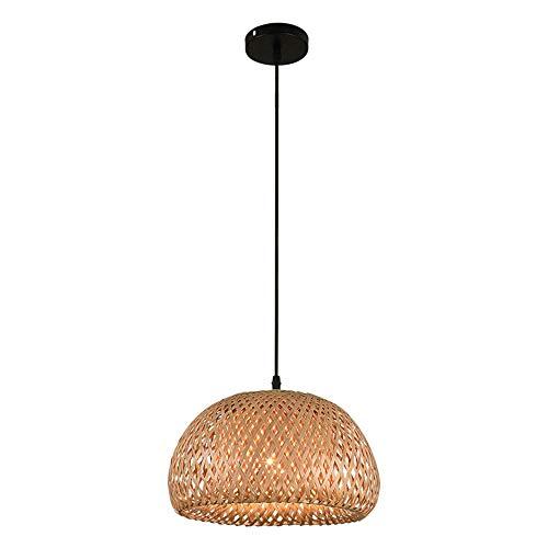 ZSLLO Araña de bambú Tropical lámpara de Pantalla de Mimbre DIY Tejida lámpara Colgante Redondo marrón Iluminación