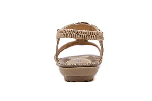 Cystyle Damen Sandalen Böhmische Schuhe Sommer Sandalen Beige