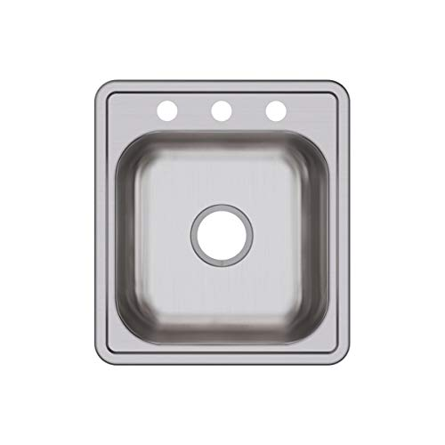 Elkay D117193 Dayton 17-Inch by 19-Inch Stainless Steel Three-Hole Bar Sink, Satin Finish by Elkay
