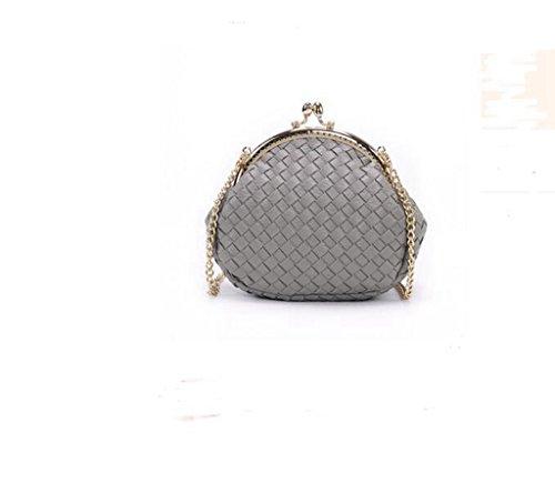 Mini Plaid sacchetto chain tessuta, spalla signora, pacchetto diagonale, polpette Frizione light Grey