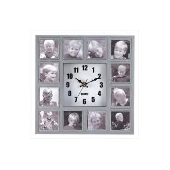 QUARTZ WALL CLOCK HOLDS 12 PHOTOS PHOTO COLLAGE HANGING WALL CLOCK