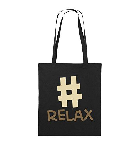 Comedy Bags - #RELAX - Jutebeutel - lange Henkel - 38x42cm - Farbe: Schwarz / Weiss-Neongrün Schwarz / Hellbraun-Beige