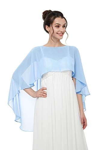 Auxico Chiffon Stola Schal für Kleider in verschiedenen Farben perfekt zu jedem Brautkleid Abendkleid, Hochzeit Abend Gala (Sky Blue, one size) - Sky Blue Chiffon