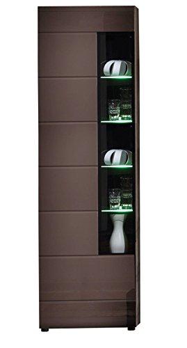 Vitrine John Trend + Beleuchtung Wohnzimmer Schrank Möbel braun hochglanz
