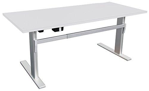 Schreibtisch höhenverstellbar in Lichtgrau Ergonomisch Elektrisch B 160 cm x T 80 cm Bürotisch...