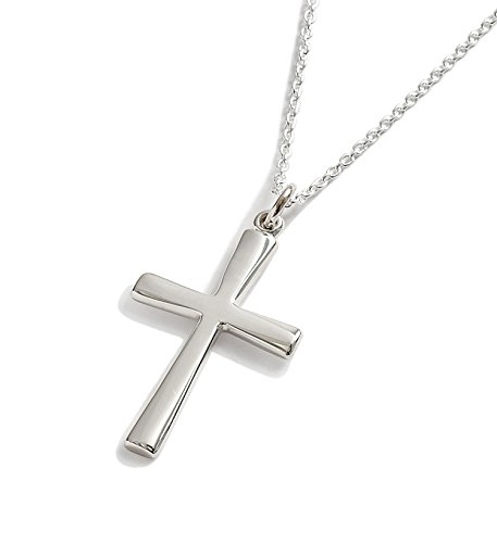 First Communion Gift Sterling Silver Contemporary Cross Pendant Confirmation Gifts