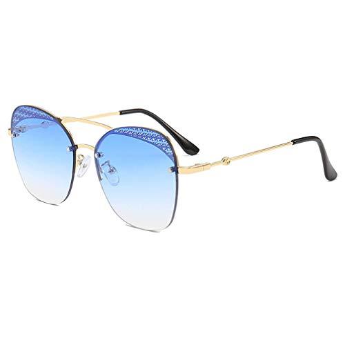 EYEphd Übergroße Damen-Sonnenbrille, verspiegelte, polygonale Sonnenbrille mit Farbverlauf, Hexagon-Brillen-Design - UV400-Schutz für Freizeit/Resorts,BlueGradientLens