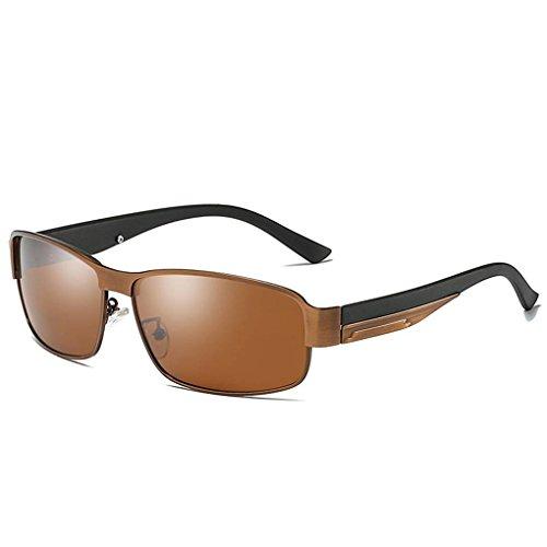 Providethebest Coolsir Männer Quadratische polarisierten Sonnenbrillen Metallrahmen UV400 Schutz Fahren Brillen 3#