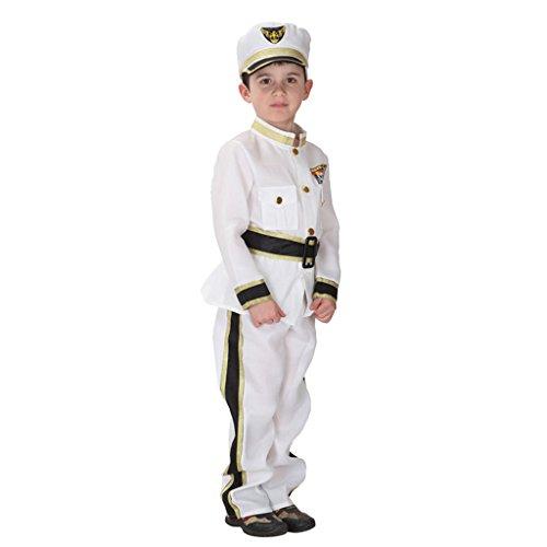 Gazechimp Kinder Junge Marine Admiral Kostüm Seemann Uniform Halloween Fancy Dress - (Marine Für Uniform Kinder)