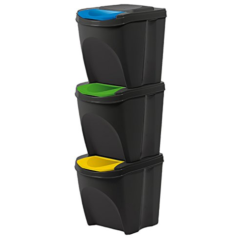 Kunststoff Mülltrennsystem Mülleimer Mülltrenner Abfalltrenner 3-fach 3x20 L stapelbar schwarz Glas Papier Plastik