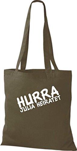 Shirtstown pochette avec inscription'hurra ... marie plusieurs couleurs Vert - Olive