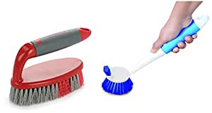 Cello Kleeno Tile Scrubber Plastic Brush, Red and Grey + Cello Dual Action Kleeno Sink and Plastic Dish Brush (Blue and White)