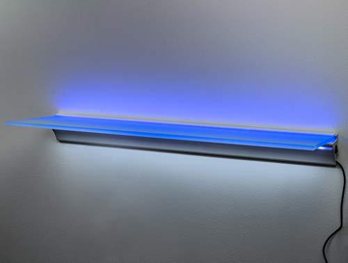 Montagefertiger Satz mit dem Treiber und Zwei LED-Bändern (Profil Weiß Glanz) (blau/kaltweiß, 81cm/18cm) - Glanz Weiß Pulverbeschichtet