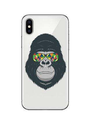 iPhone X Fall, blingy 's New Cute und Funny Transparent Klar Tier Style Weiche Schutzhülle aus TPU Gummi für iPhone X, Gorilla with Sunglasses