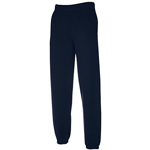 Pantalone tuta da ginnastica cotone fruit of the loom pantaloni felpati uomo con fondo stretto elastico sulla caviglia, colore: blu navy, taglia: l