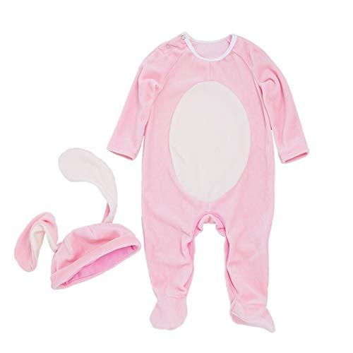 Fenical Strampler Kaninchen Ear Cap Einteilige Kostüm Sets Niedlich Langarm Bunny Onesie XL für 12-24 Monate 2 stücke (Niedliche Strampler Xl)