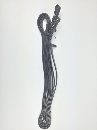 Zügel, langer Zügel, lang Zügel, 6m , Leder, schwarz- silberfarbene Schnallen