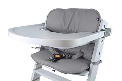 Tinydo® Universal Hochstuhl-Sitzkissen optimal für Timba Safety 1st. und alle gängigen Treppenhochstühle - 2teilg. Set mit Memory-Schaum Sitzverkleinerer-Auflage für Babystühle rutschfest (Hellgrau)