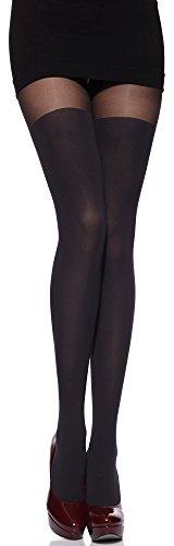 Merry Style Damen Strumpfhose mit Overknees Muster 80 DEN (Graphite, 3 (36-40)) (80 Strumpfhose)