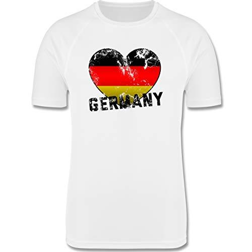 Shirtracer Fußball-Europameisterschaft 2020 - Germany Herz Vintage - M - Weiß - F350 - Herren Laufshirt