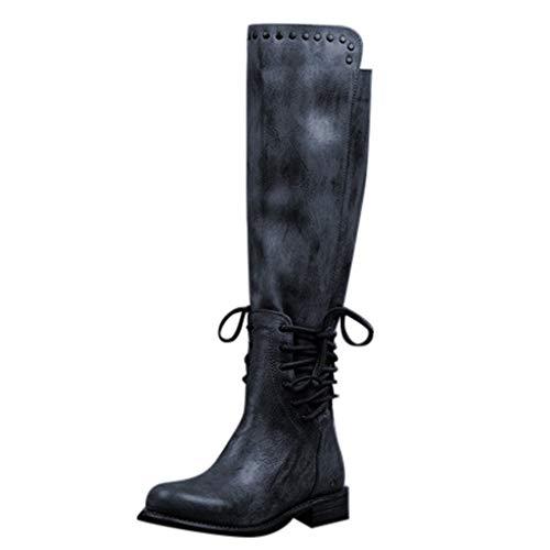 chaussures femme Bottes Femme en Cuir Bottes Bottines Décontractées à Lacets à Femmes Bottes en Plates Fourrées Imperméable Boots