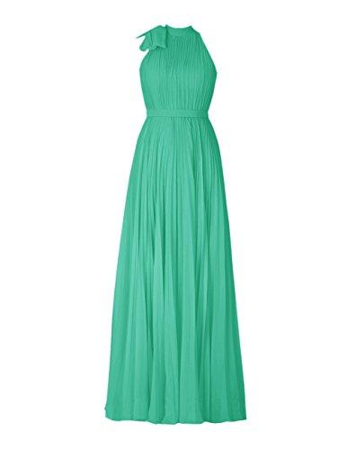 Dresstells Robe de demoiselle d'honneur Robe de cérémonie forme empire en mousseline longueur ras du sol Vert