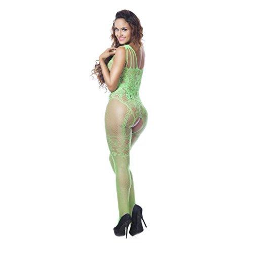 feiXIANG Stilvoll DamenLingerie Mesh Dessous Babydoll Kleid Unterwäsche Nachtwäsche (Grün, Freie Größe) (Tank Trim Mesh)