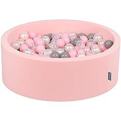 KiddyMoon 90X30cm/300 Balles ∅ 7Cm Piscine À Balles pour Bébé Rond Fabriqué en UE, Rose: Perle-Gris-Transparent-Rose Poudré
