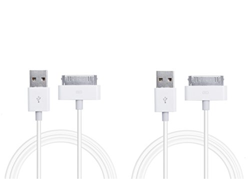 Preisvergleich Produktbild Original iProtect® 2xUSB Ladekabel Datenkabel 1 Meter weiß für iPhone und iPod 4S 4 3GS Classic Touch Nano 3G 2G Photo Mini