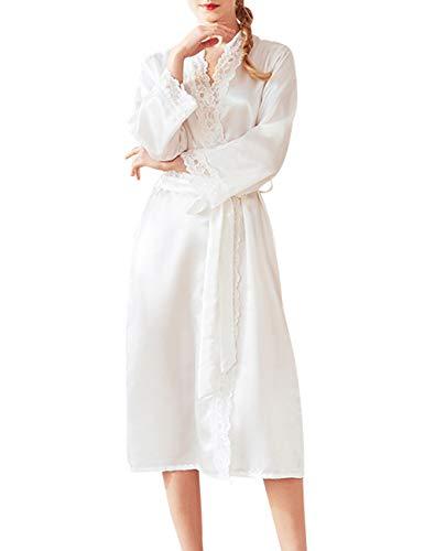 da18f442dd43 TAAMBAB Albornoz Mujer Satén Camisón Sexy Kimono Vestido Manga Larga Cuello  en V Batas Largas Vestido
