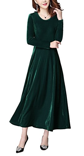 Urban GoCo Damen Lange Langarm Abendkleid Maxi SAMT Party Kleid (XL, Grün)