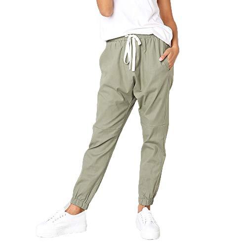 Damen Leinen Drawstring (Ansenesna Damen Chino Lang Locker Elegant Freizeithosen Mit Drawstring Mode Freizeit Für Frauen Mädchen (S, Grün))