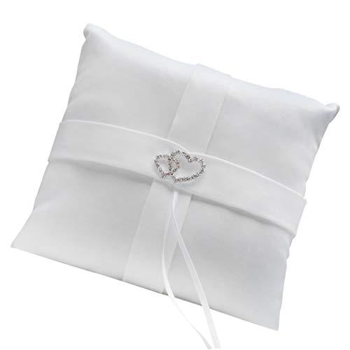 SeaStart Weiß Doppel Herz Diamant Ring Kissen Hochzeit Ring Inhaberaktien Kissen (Inhaberaktien Kissen Ring)