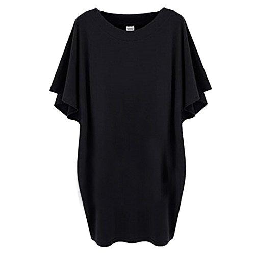 Casual Bouffante Surdimensionné Des Femmes Hors épaule Chemises Pull en tête Robe Chemisier Noir