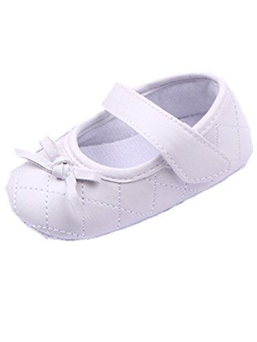 YICHUN Bébé Filles Chaussures de Premier Pas Chausson Chaussures de Princesse Chaussures Souples (Longueur de Semelle:12CM, Noir) Blanc