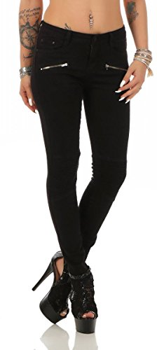 5755 Fashion4Young Damen Jeans Röhrenjeans Hose Stretch-Denim Skinny Röhre Damenjeans Slimline (XS=34, schwarz) (Lange Skinny Jeans)
