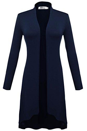 Meaneor Damen Maxi Cardigan Jerseymantel Strickjacke Geometrische Irregular Lose Pullover Mantel Offen Loose Fit Baumwolle , Dunkelblau - EU 42(Herstellergröße: XL)