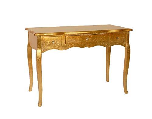 Schreibtisch Schminktisch Kosmetik Konsole Barock Gold 110cm