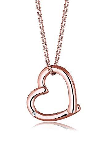 Diamore Halskette Damen Halskette mit Herz Anhänger Liebe mit Diamant (0.02 ct.) in 925 Sterling Silber 45 cm lang