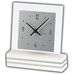 AMS Uhrenfabrik T1108 Wood Lacquered Aluminium Clock, Silver