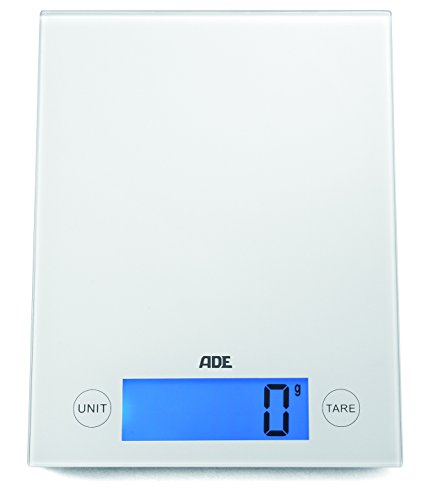 ADE Digitale Küchenwaage KE 1129 Ramona (Elektrische Waage mit Wiegefläche aus Sicherheitsglas, präzise bis 5 kg, LCD-Display, Sensor-Touch) weiß