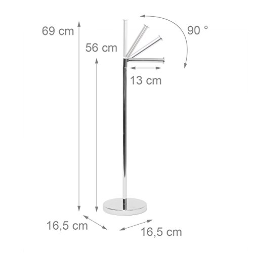 Relaxdays Toilettenpapierhalter Stehend HBT 75 X 22 X 16,5 Cm Freistehender  Papierrollenhalter Aus Stahl
