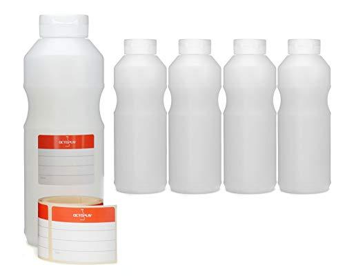 Octopus 5X 500 ml Quetschflaschen, Dosierflaschen mit Klappdeckel und Silikonöffnung, Ketchupflaschen BZW. Saucenflaschen, inkl. Beschriftungsetiketten