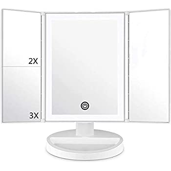 Deweisn Tri Fold Lighted Vanity Mirror With 21 Led Lights