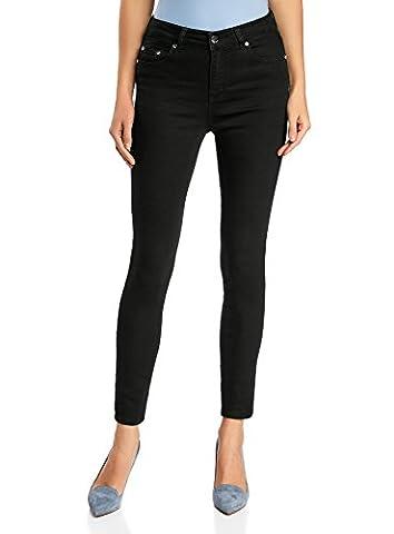 oodji Ultra Femme Jean Skinny à Taille Haute, Noir, 26W / 30L (FR 36 / XS)