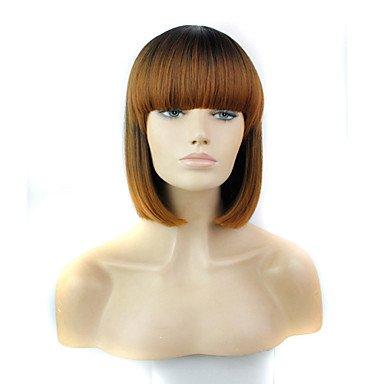 HJL-courte perruque bob bangs plein de 12 pouces femmes r¨¦sistent ¨¤ la chaleur ombre de la fibre ¨¤ deux tons